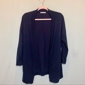 Zara Knit Open Cardigan Sweater in Navy